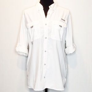 Columbia white Button-up.        141